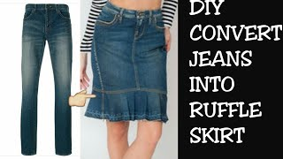 DIY CONVERT OLD JEANS INTO SKIRT IN 10 MINUTES~