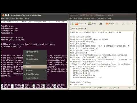 How to create SFTP Server on Ubuntu 10