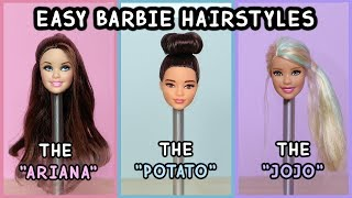 5 Easy Barbie Doll Hairstyles Tutorial
