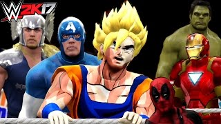 Goku vs Hulk vs Deadpool vs Iron Man vs Captain America vs Thor | WWE 2K17