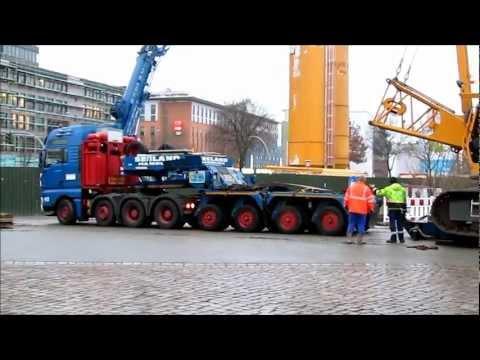 Schwertransport: Verladung Liebherr HS 873 auf MAN TGA 26.530 / Scheuerle