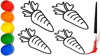 Carrot coloring & drawing | Coloring Carrot Vegetables and drawing for Kids Easy drawing | Cute Art