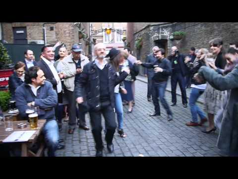 The National Theatre of Albania actors dance at the The George Pub in London, 13.05.2012