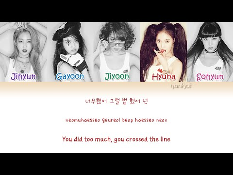 4MINUTE (포미닛) – Hate (싫어) (Color Coded Han|Rom|Eng Lyrics) | by Yankat