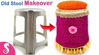 Old Stool Idea | Make Beautiful Cover for Plastic Stool from Waste Cloth | Sonali's Creations #160