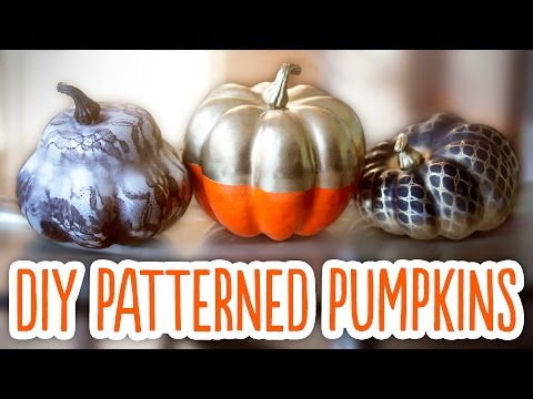 DIY Halloween Patterned Pumpkins - Color Blocking, Lace Pattern & Blood Drips!