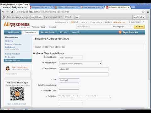 Registrácia Aliexpress
