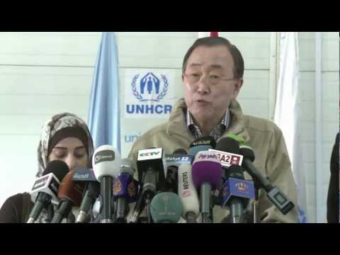 UN Secretery General, Ban Ki-Moon visits Za'atari Refugee Camp