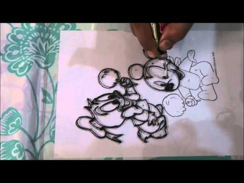 Mickey & Donald Glass Painting - Easy steps