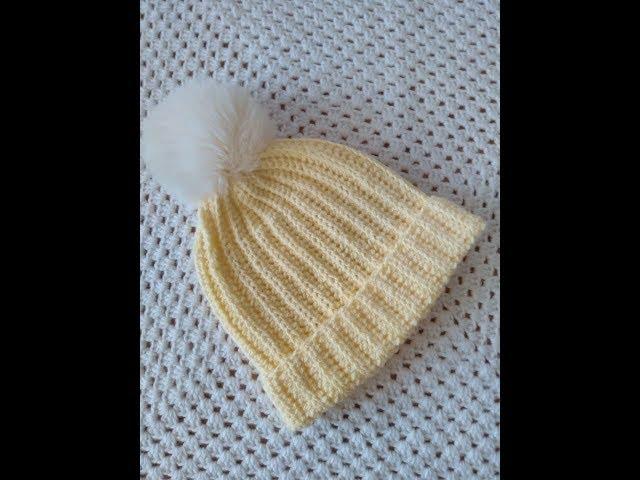 Вязанная шапочка крючком. Поперечное вязание крючком.