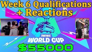 Fortnite World Cup *EMOTIONAL* Reactions to Qualification *WINNING* $50000 *WEEK 6*
