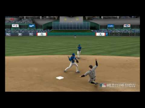 MLB '09 The Show: Alberto Callaspo turns the double play on Miguel Cabrera Video
