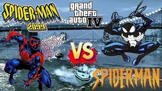 Spiderman 2099 vs Black Spiderman - Epic Battle - Grand Theft Auto
