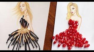 Amazing Draw Girls Dresses From Daily Items | Muhammad Waqas