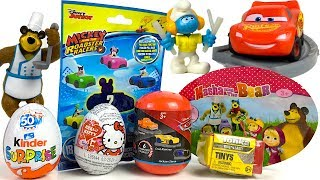 CHOCOLATE EGG SURPRISES AND BLIND BAGS WITH MASHA MICKEY CARS & MORE