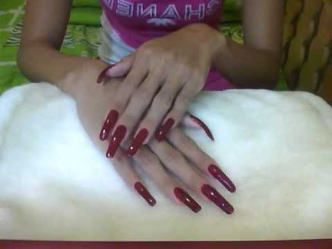 Beautiful Very Long Red Polished Nails Of Nailsfashion