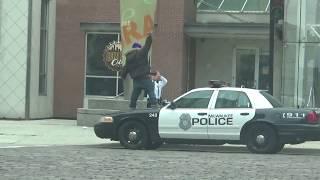 Man Dances On Top Of Police Car!!!