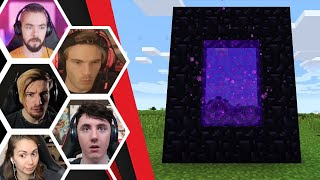 Let's Players Reaction To Building A Nether Portal & The Nether | Minecraft