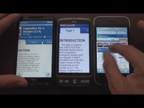 Video: HTC Desire vs iPhone vs HD2: Web Browsing