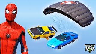 Desafio de CARROS com Homem Aranha e Heróis! Voadores x Paraquedas Episódio #12 - GTA V - IR GAMES