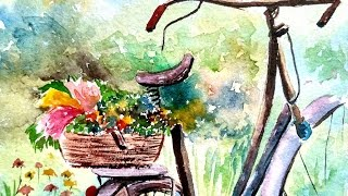 How to Paint Bicycle Basket with Flowers | WATERCOLOR PAINTING | PAINT WITH DAVID