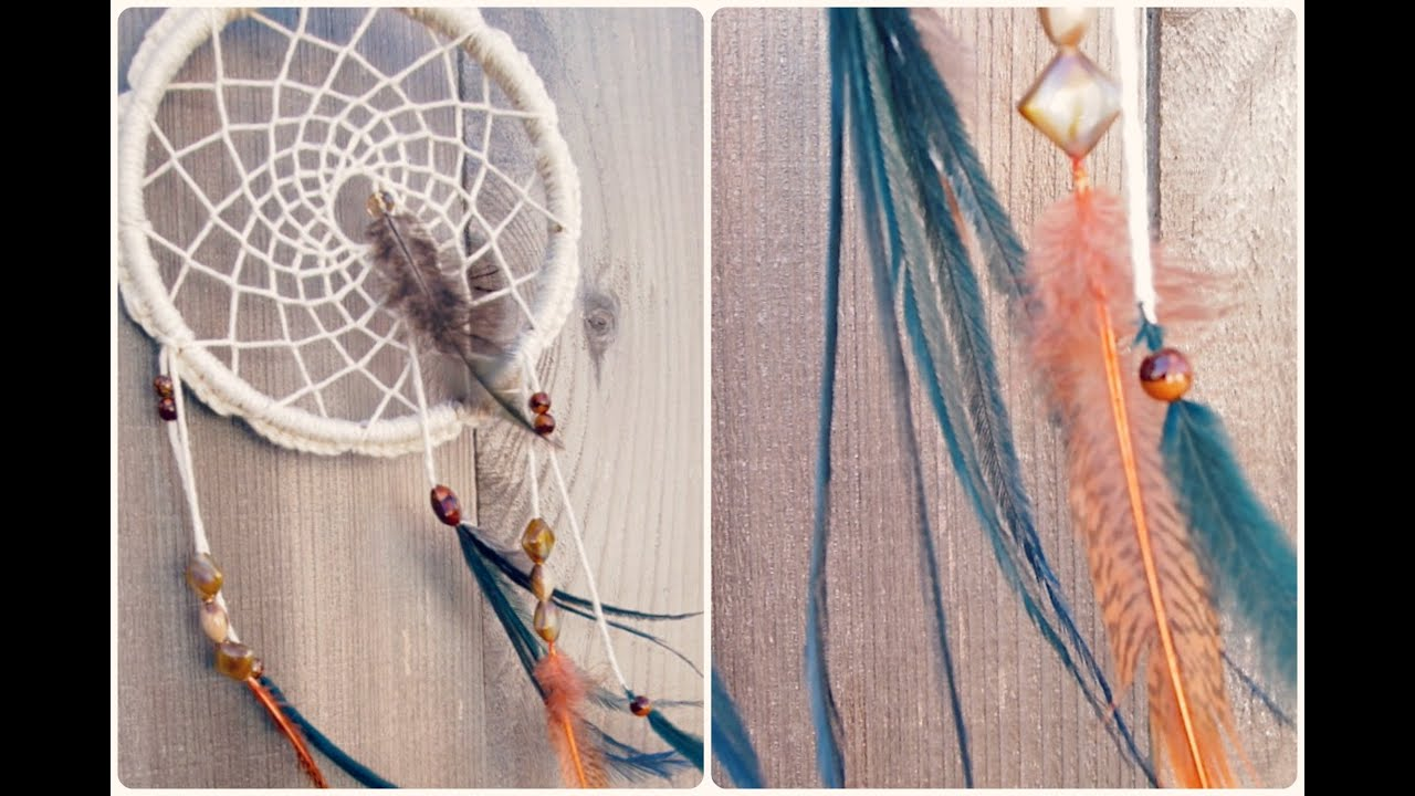 Make a dreamcatcher crochet feathers and beads youtube for How to make dreamcatcher designs