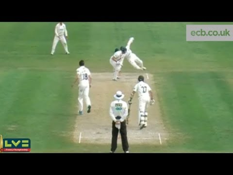 Essex wicketkeeper James Foster dives to stump Worcestershire batsman Tom Fell in their LV= County Championship match. SUBSCRIBE for more! We'll Send you lots more cricket videos, I promise....