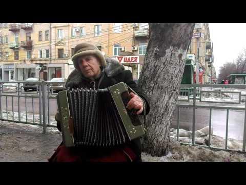 Уличный музыкант в Воронеже. Игра на гармони.