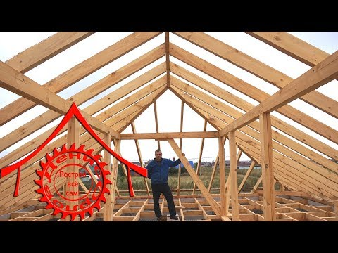 Четырёхскатная крыша на гвоздях и табуретке