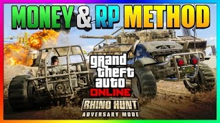 "GTA 5 Online: Fast & Easy Money & RP Method! NEW ""RHINO HUNT"" Double Money/RP Gameplay PS4/Xbox 1/PC"