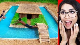 Kids Build Primitive House with Swimming Pool