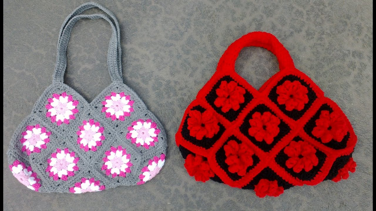 Crochet Purses And Bags Tutorials : Granny Square Bag Crochet Tutorial Part 2 of 3 - Handles Version 1 of ...
