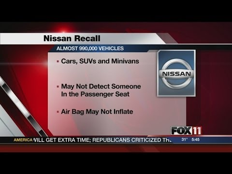 Nissan recalls more than a million vehicles for air bag problem