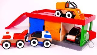Car Wash Gas Pump Parking Garage Station Playset for Kids with Tow Truck Fire Truck Police Car