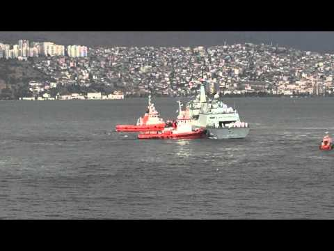 ROK Navy ship Kang Gam Chan leaving the dock in Izmir 11 October 2015