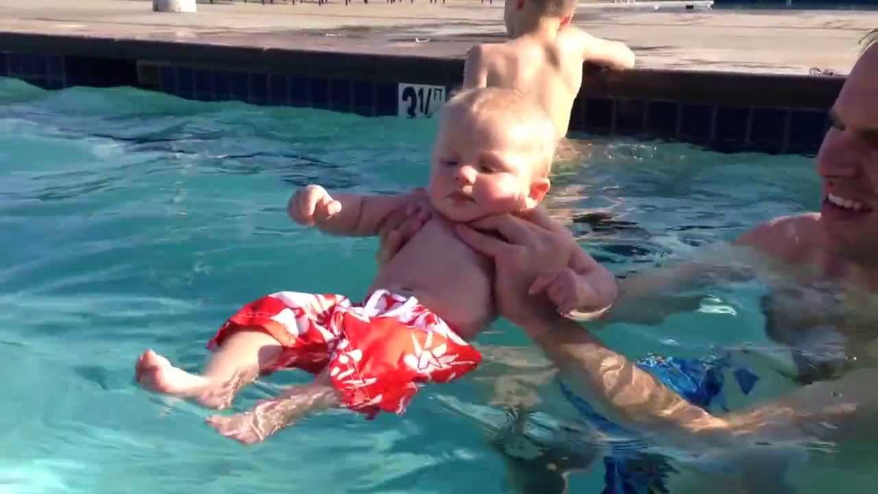 Baby's First Swim, On A Cool January Day Youtube
