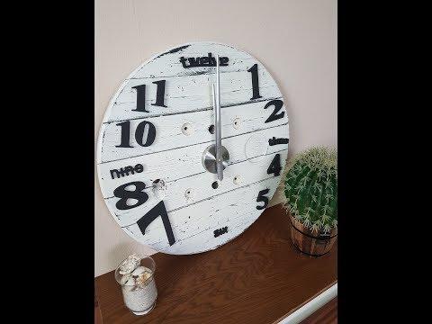 Upcycling DIY Kabeltrommel Uhr im Shabby Chic Look Uhr selber machen/ Möbel selber machen