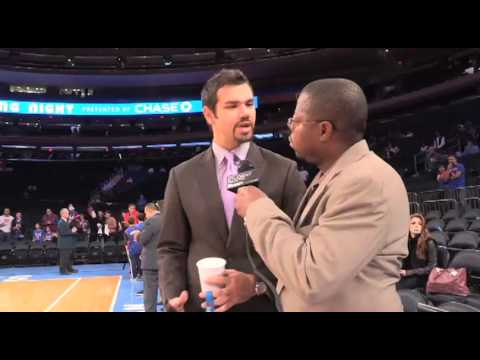 Spero Dedes, New York Knicks Annoucer Speaks with Derrel