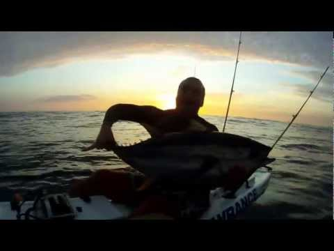 Shaun Reid catches a Yellowfin Tuna on his Pinnacle Kayak
