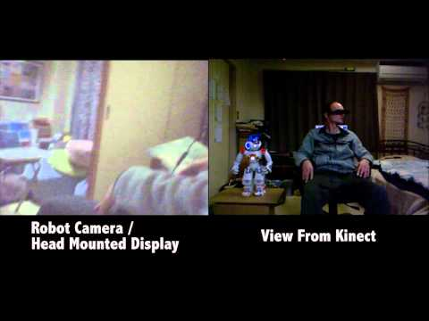 Head Mounted Display Controls Humanoid Robot Head and Sees Through Its Eyes