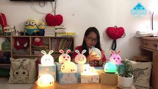 Đèn ngủ cho trẻ em hình thú cưng mèo, thỏ, cá heo, cún con