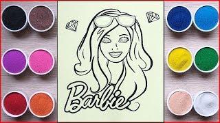TÔ MÀU TRANH CÁT BÚP BÊ BARBIE - Colored sand painting Barbie doll toys - Đồ chơi trẻ em Chim Xinh