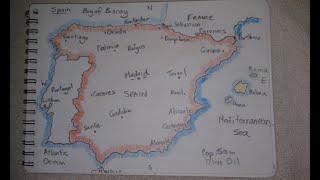 ASMR - Map of Spain - Australian Accent - Chewing Gum & Describing in a Quiet Whisper