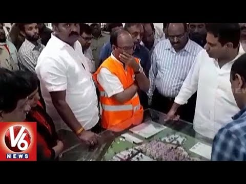 Minister KTR Holds Sudden Inspection On GHMC's Kollur Mega City Construction Work | V6 News