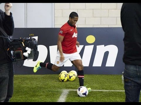 Man Utd's Antonio Valencia takes on the bwin Corner Kick Challenge