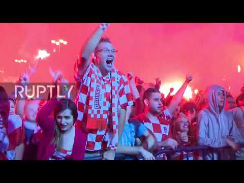 Croatia: Zagreb celebrates Perisic's equaliser against England thumbnail