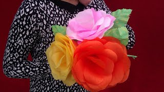 How To Make Paper Roses : Giant Paper Flower (Paper Roses)