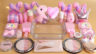 Mixing'Unicorn Pink'Eyeshadow,Makeup and glitter Into Slime!Satisfying Slime Video!★ASMR★