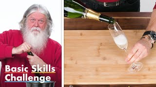 50 People Try To Open A Champagne Bottle | Basic Skills Challenge | Epicurious