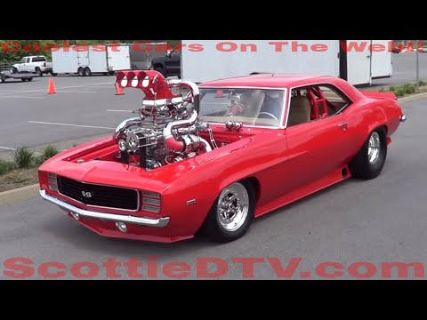 A 1969 Camaro SS with Twin Turbos and a Super Charger...and a 200 shot of Nitrous..Horse power is unknown...but it is the most over the top Car I have ever s...